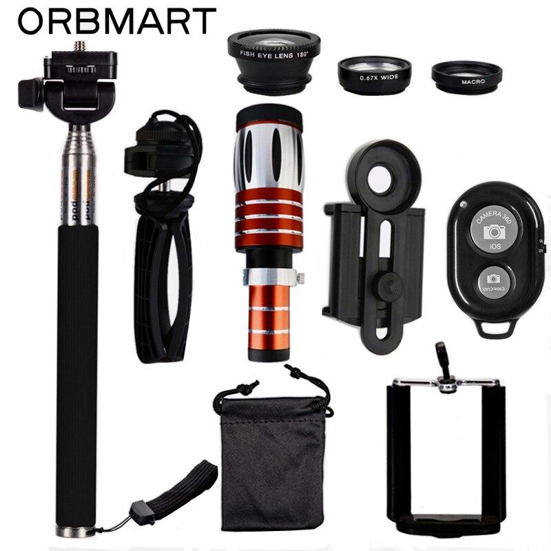 ORBMART 50X Télescope + 3 dans 1 Fish Eye Lens + Extensible Poche Selfie Bâton + Bluetooth Obturateur Lentille Kit pour Smartphone