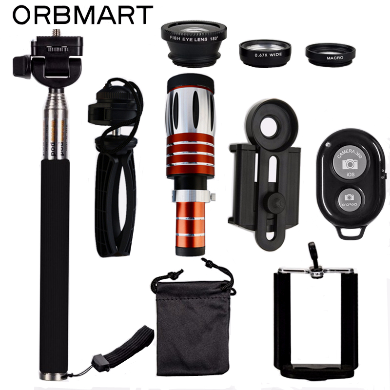 ORBMART 50X Telescopio + 3 in 1 Occhio di Pesce Lens + Allungabile Palmare Selfie Bastone + Bluetooth di Scatto Lente Kit per Smartphone