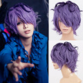 heat resistant Party hair  shipping>>Lolita Cool Boy IB Garry Halloween Costume Cosplay Party Short Curly Purple Wigs