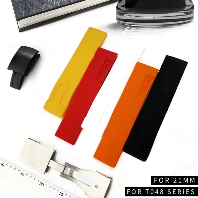 Sport Siliconen Horloge Bands Voor Tissot T048 T048.417 Horloge Horlogebandje T Ras T Sport Horlogeband Armband Waterdicht Zachte rubber