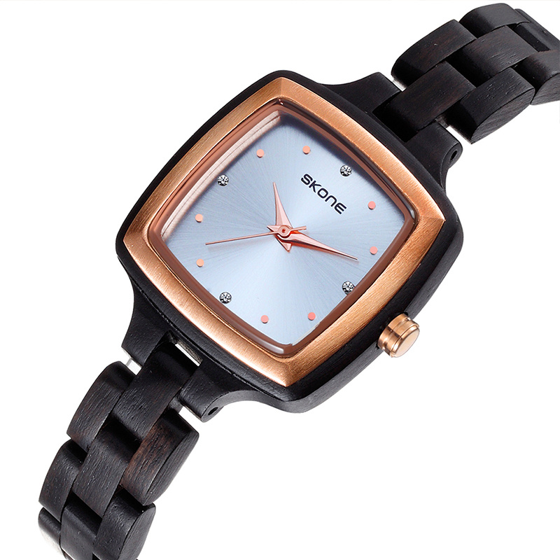 SKONE Square Wood Watch Minimalist Simple Women's Wrist Watches Luxury Brand Ladies Wooden Dress Watches relogio feminino