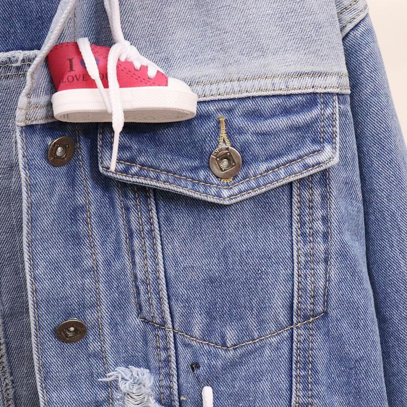 Femmes Denim 2018 Automne Manteau Dessinée Chaussures Veste Lâche Bleu Trou Occasionnels Femelle Printemps Bande De Nouveau Diamant Cowboy Jeans Lapin Outwear tqqCB7xpw