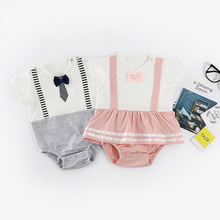 New Baby Boy Girls Short Sleeve Rompers Gentle Tie Newborn G
