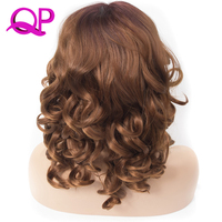 QP Hair Short Bob Wigs For Black Women Lose Wave Synthetic Lace Front Wig L Shapped