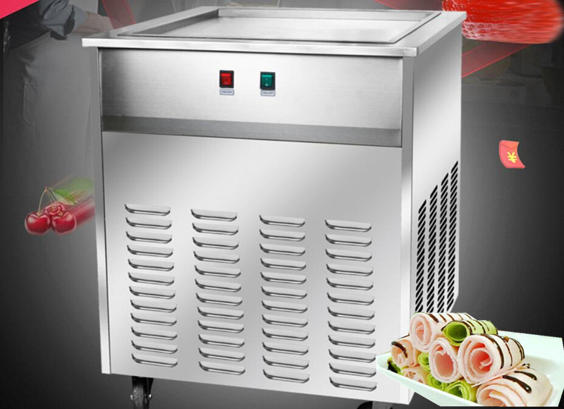 single square pan 48*48cm fried ice cream roll machine, brandnew compressor Fried ice pan machine,R22 ice pan ice cream machine single square48 48cm round 45 45cm pan fried ice cream roll machine fried ice pan machine r22 fried ice machine