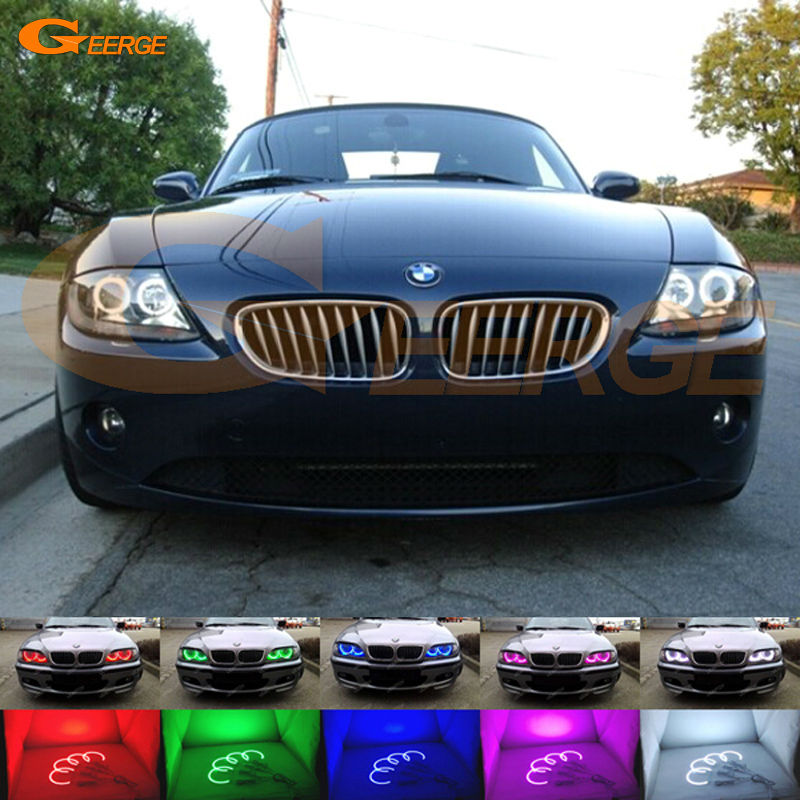 For BMW Z4 E85 E86 2002 2003 2004 2005 2006 2007 2008 Excellent Multi-Color Ultra bright RGB LED Angel Eyes kit Halo Rings super bright led angel eyes for bmw x5 2000 to 2006 color shift headlight halo angel demon eyes rings kit