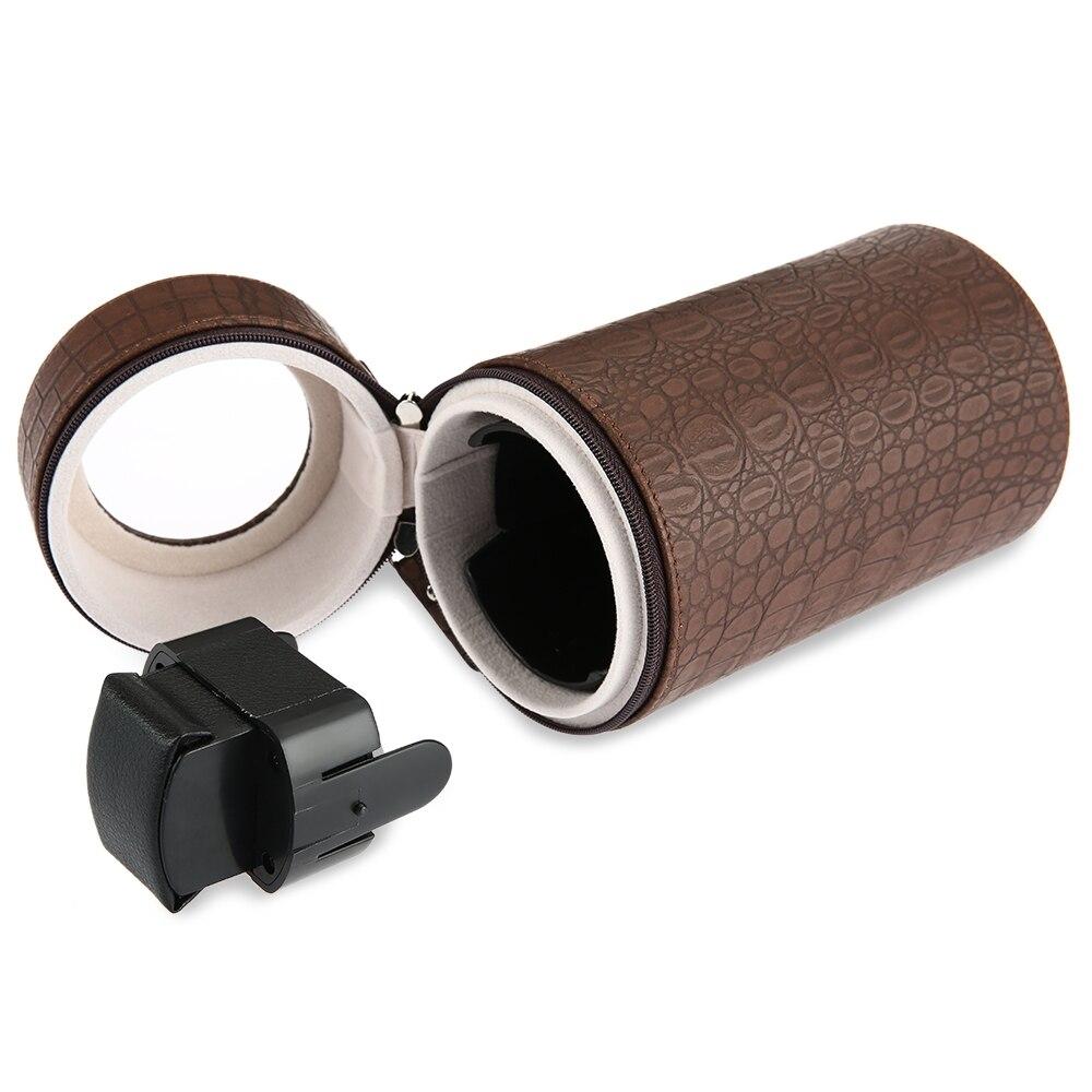 Auto Silent Watch Winder Cylinder Shape Wristwatch Box with EU Plug