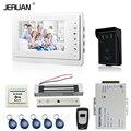 JERUAN 7 ''LCD telefone video da porta vídeo porteiro intercom kit 1 Câmera monitor de Acesso RFID à prova d' água branco 180 KG fechadura magnética