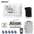 JERUAN 7`` LCD video door phone intercom video intercom kit 1 white monitor waterproof RFID Access Camera 180KG Magnetic lock