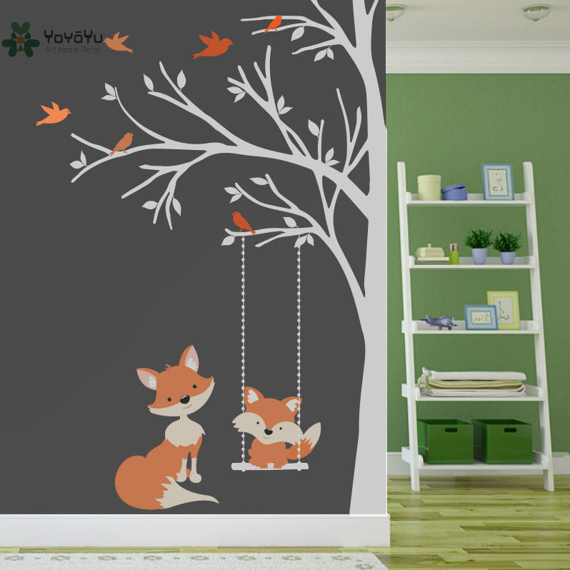Wall Decal Vinyl Sticker Nursery Large Tree With Birds And Foxes Swing Custom Any Color Wall Art Mural Kid Room Decor DIY WW-349