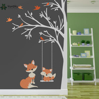 Wall Decal Vinyl Sticker Nursery Large Tree With Birds And Foxes Swing Custom Any Color Wall Art Mural Kid Room Decor DIY WW 349