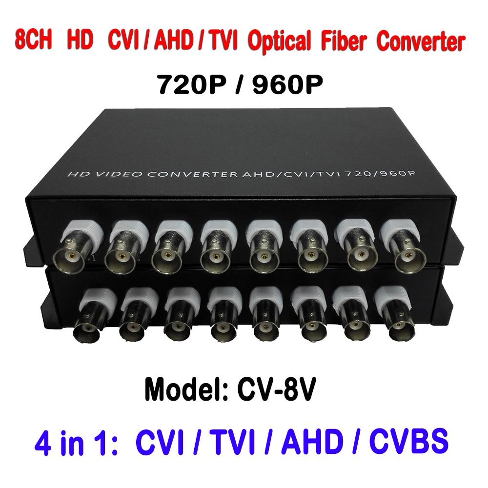 HDCVI 8 Channel Video Optical Media Converter Transmitter Receiver Single Mode 20KM For 720P 960P AHD CVI HD Surveillance Camera