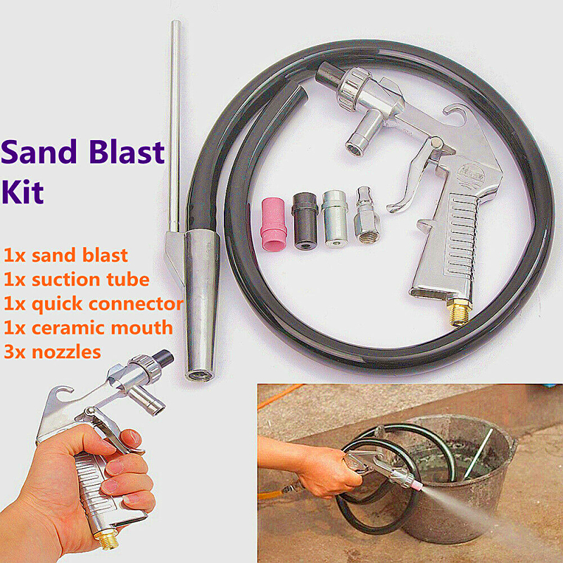 Image 5 - Sandblasting Gun 7Pcs Abrasive Air Sand Blasting Gun Kit Sandblasting Machine Nozzle Tube Rust Remove for Sandblast Cabinets2019-in Spray Guns from Tools on