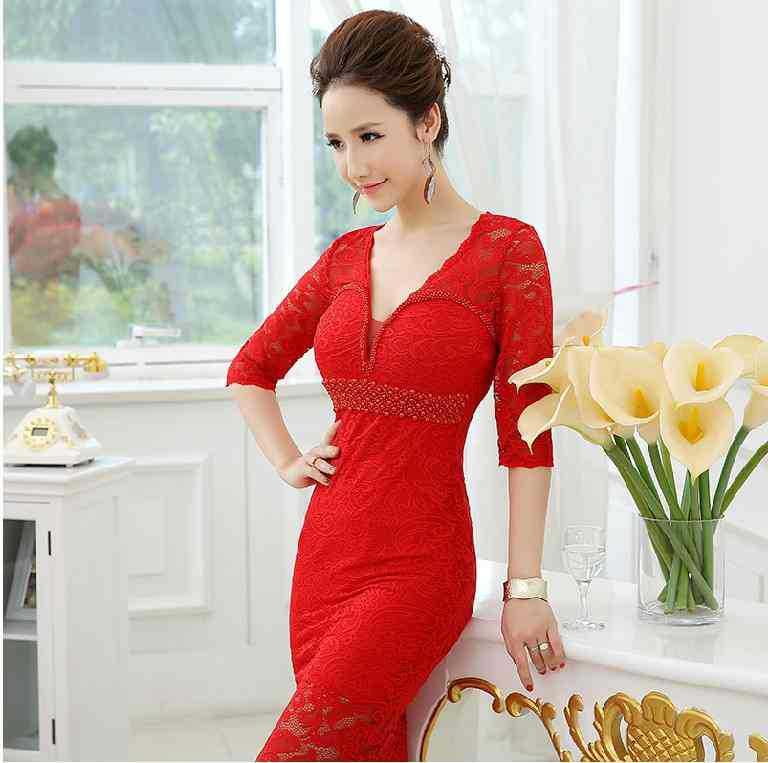 Реалистичная картина кружево с v-образным вырезом Вечерние платья строгое длинное вечернее платье vestido de festa rendo robe de soiree abiti da sera 559 - Цвет: Red
