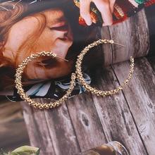 Новые винтажные серьги для женщин золотые круглые геометрические серьги металлические серьги Висячие модные ювелирные изделия