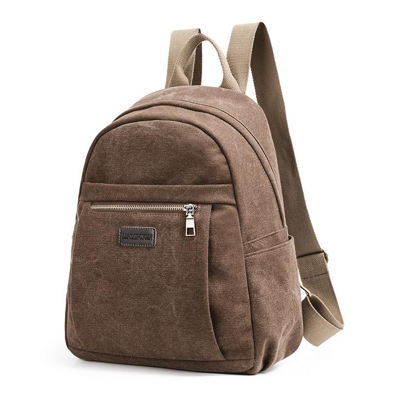 Vintage Women's Backpack Canvas Backpacks Preppy Style School Bags Simple Travel Laptop Bag