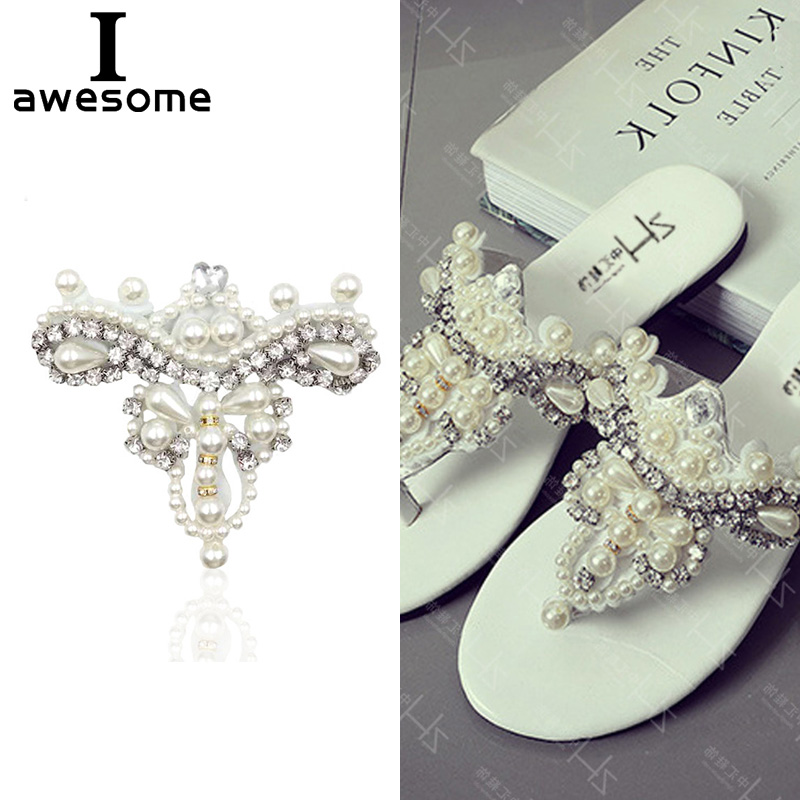 1pcs Beautiful Flower Bridal Wedding Party Shoes Accessories High Heels Shoes DIY Manual Pearl Rhinestone Shoe Decorations