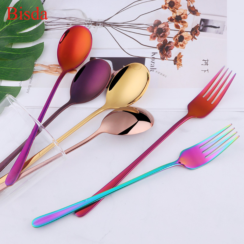 2 Pcs/set Dinner Spoon And Fork Set Stainless Steel Fork Gold Dinnerware Kitchen Utensil Colorful Spoon Safety Adult Flatware
