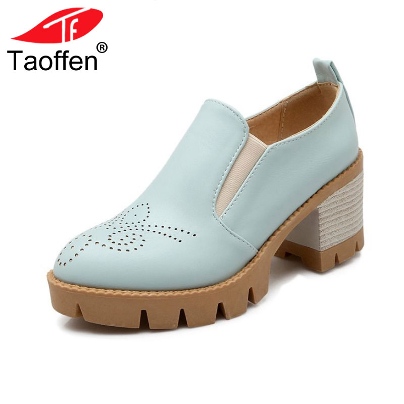 TAOFFEN Size 34-43 British Style Women High Heel Shoes Woman Block Solid Color Thick Heels Pumps Daily Office Lady Footwears kemekiss size 32 45 women concise pumps square toe high heels shoes solid office lady thick heel pump party wedding footwears