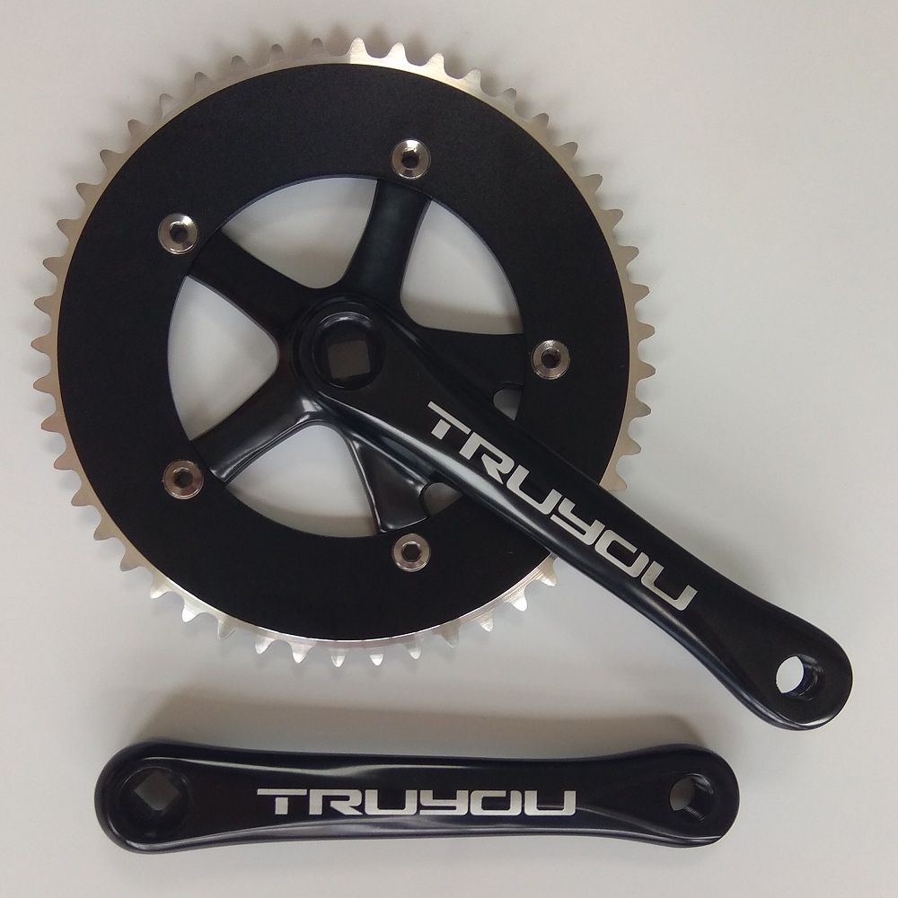 TRUYOU Bicycle Crankset Fixed Gear Single Speed 130 BCD 53T 52T 50T Chainwheel 1 8mm Track