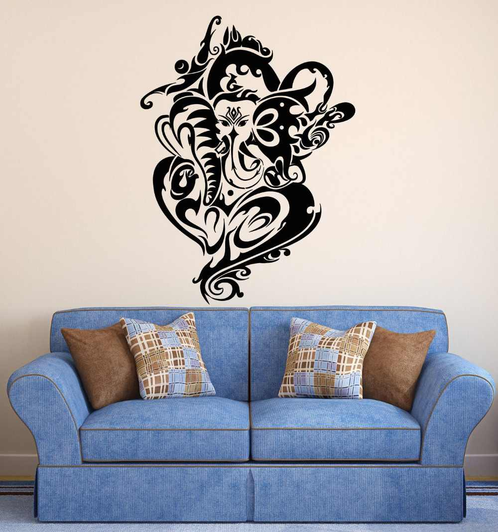 Hidu God Ganesha Wall Decal Elephant Special Design Buddha Wall Stickers Vinyl Art Mural Yoga Studio Indian Home Decor Diysyy849