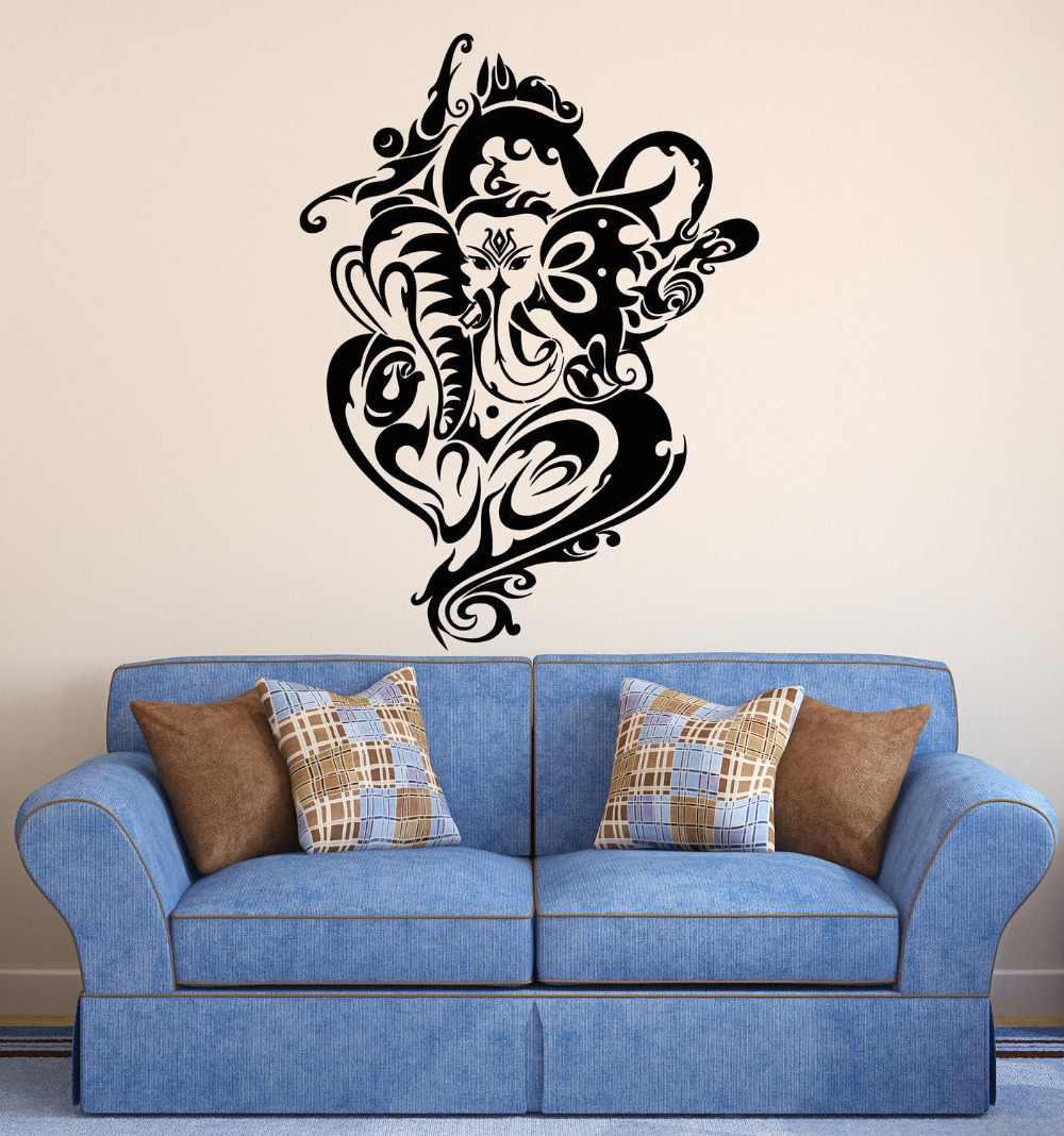 Hidu God Ganesha Wall Decal Elephant Special Design Buddha Wall Stickers Vinyl Art Mural Yoga Studio Indian Home Decor Diysyy849