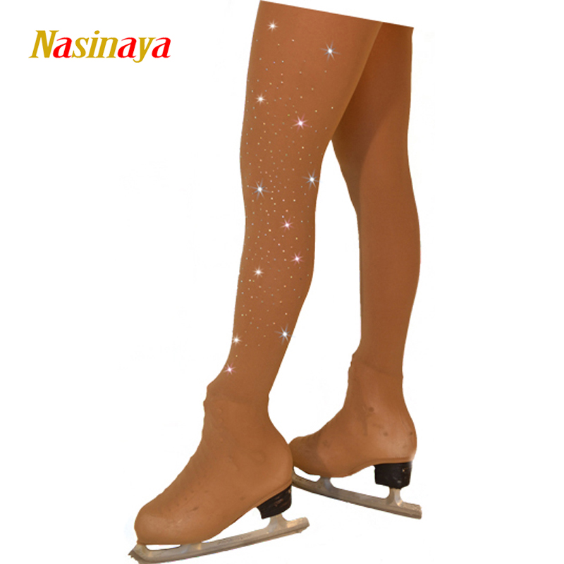 Customized Figure Skating Pantyhose For Girl Women Training Competition Patinaje Ice Skating Warm Fleece Gymnastics Skin Color 4