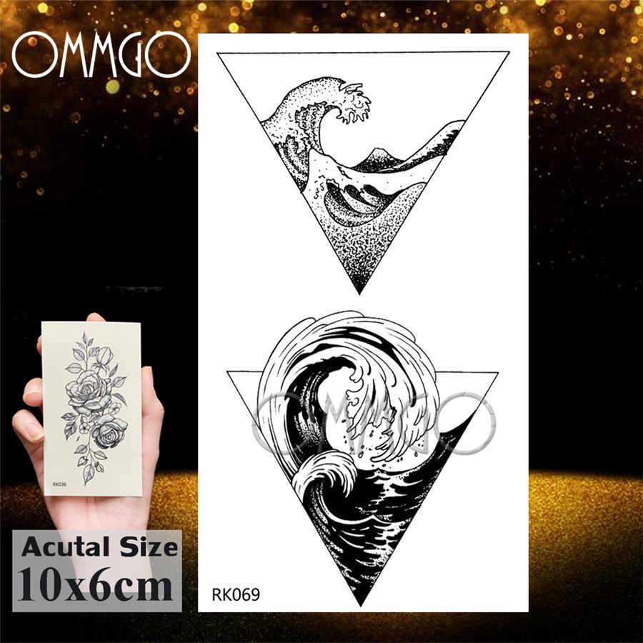 Ommgo adesivo de tatuagem temporária, árvore de pinho com lâmpada de vidro, tatuagem personalizada, arte corporal, braço, tatuagens falsas pequenas e pretas