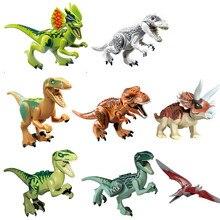 Single Sale Jurassic Dinosaurs Park Pterosauria Triceratops Indomirus T-Rex World Figures legoing Bricks Toys Building Blo BKX26