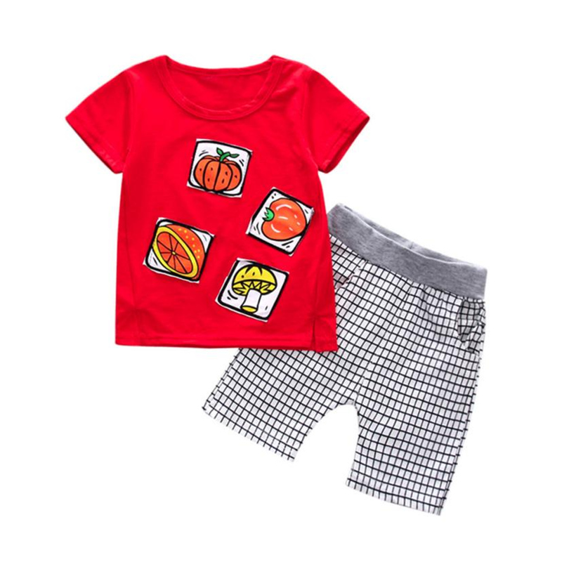 Arloneet Дети Одежда для мальчиков фрукты клетчатые шорты + футболки принт топы; одежда детей Костюмы комплекты От 1 до 3 лет l0320
