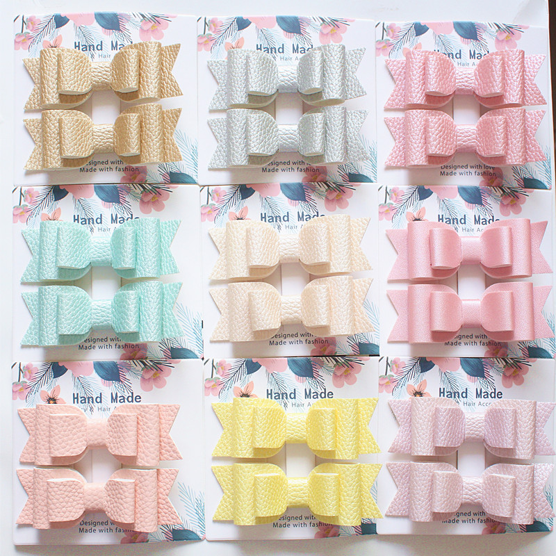 Resale 2pcs/card Lovely Bow Hair Glitter Felt Hair Clip Cute PU Leather Double Layer Hairpin Modish Girls Hair Clip New   Headwear