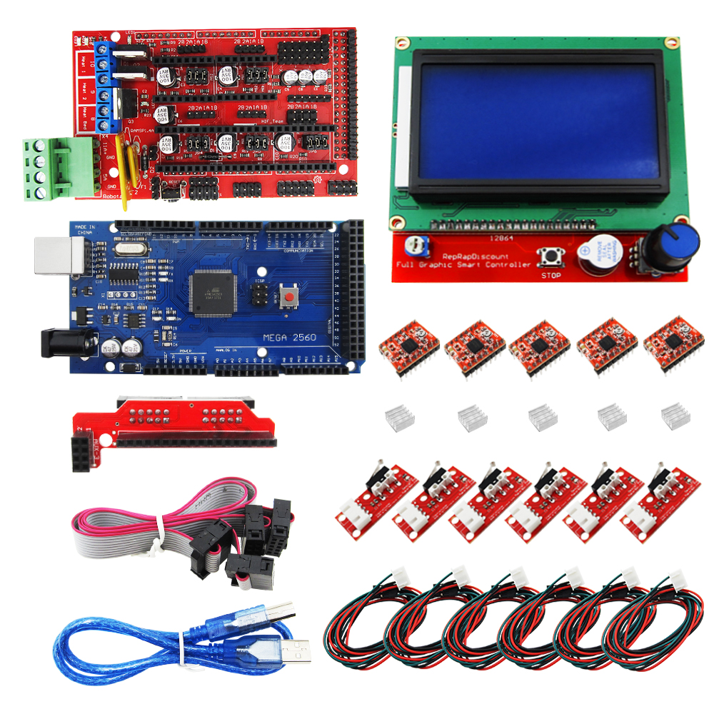 CNC 3D Printer Kit for Mega 2560 R3 + RAMPS 1.4 Controller + LCD 12864 + 6 Limit Switch Endstop + 5 A4988 Stepper Driver reprap ramps 1 4 mega 2560 heatbed mk2b 12864 lcd controller drv8825 mechanical endstop cables for 3d printer diy kit