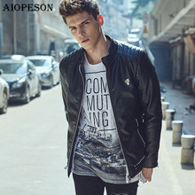 AIOPESON Autumn Stand Collar Jackets Men Solid Color High Quality PU Leather jacket man Casual Slim man jacket Plus Size XXXL