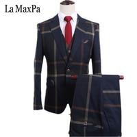 La MaxPa Jacket Pants Vest 2017 Brand Men Suits Custom Made Wedding Suit For Man Slim