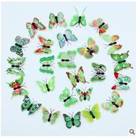 wholesale factory outlet 6cm simulation butterfly apparel GREEN colour dimensional home decoration 3D refrigerator famous world