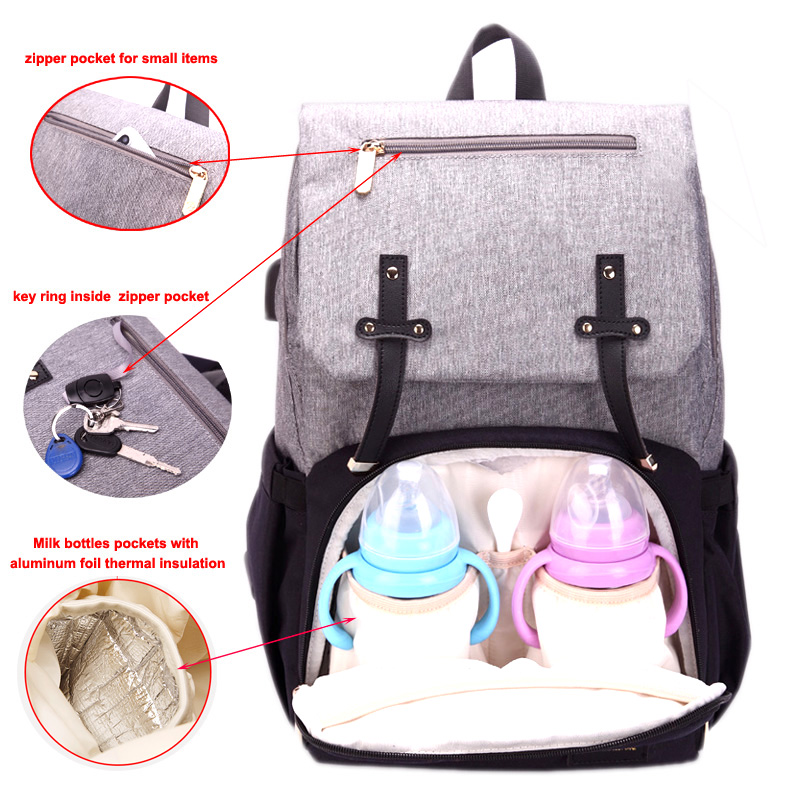 New Mummy Diaper Bag Baby Stroller Bag USB Charging Waterproof Oxford Women Handbag Maternity Nursing Nappy backpack Travel Bags 3