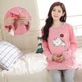2016 spring and autumn casual maternity clothes set Pure cotton pregnant women breastfeeding cartoon cat pajamas up nurse suit