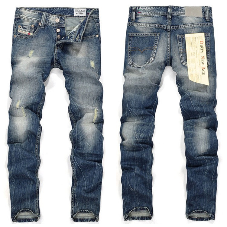 2016 Plus Size New Arrival Thunderstar Mens Jeans Zipper Straight Full Length Solid Scratched Denim Pants