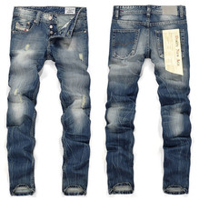 2016 Plus Size New Arrival Thunderstar Mens Jeans Zipper Straight Full Length Solid Scratched Denim Pants HX4