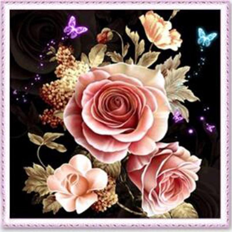 DIY 5D Diamond Painting Rose Flower Cross Stitch Mosaic Diamond Embroidery Needlework Pattern Rhinestone Paintings Home Decor