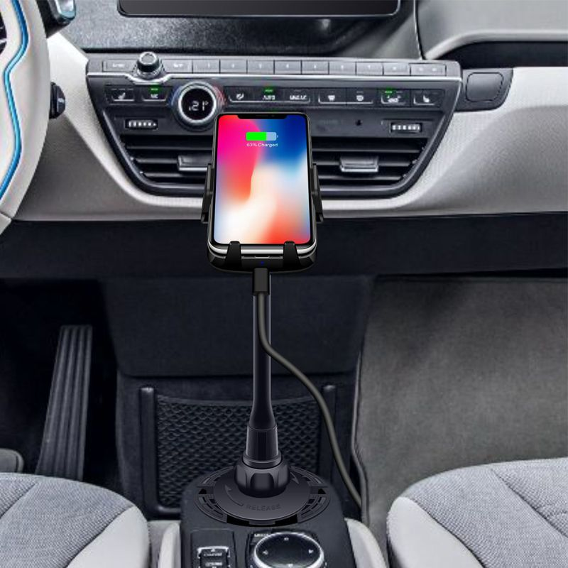 Car Qi Fast Wireless Charger Gooseneck Cup Holder Air Vent Mount for iPhone X XR XS 8 Samsung S9 S8 S7 S6 Note 9/8 For Huawei