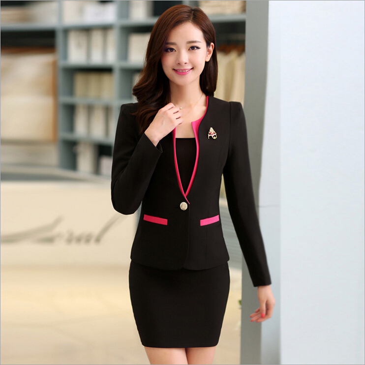02058cc0e34 New 2016 Autumn Formal Red Blazer Women Suits with Skirt and Jacket Sets  Ladies Office Suits Work Uniform for Beauty Salon