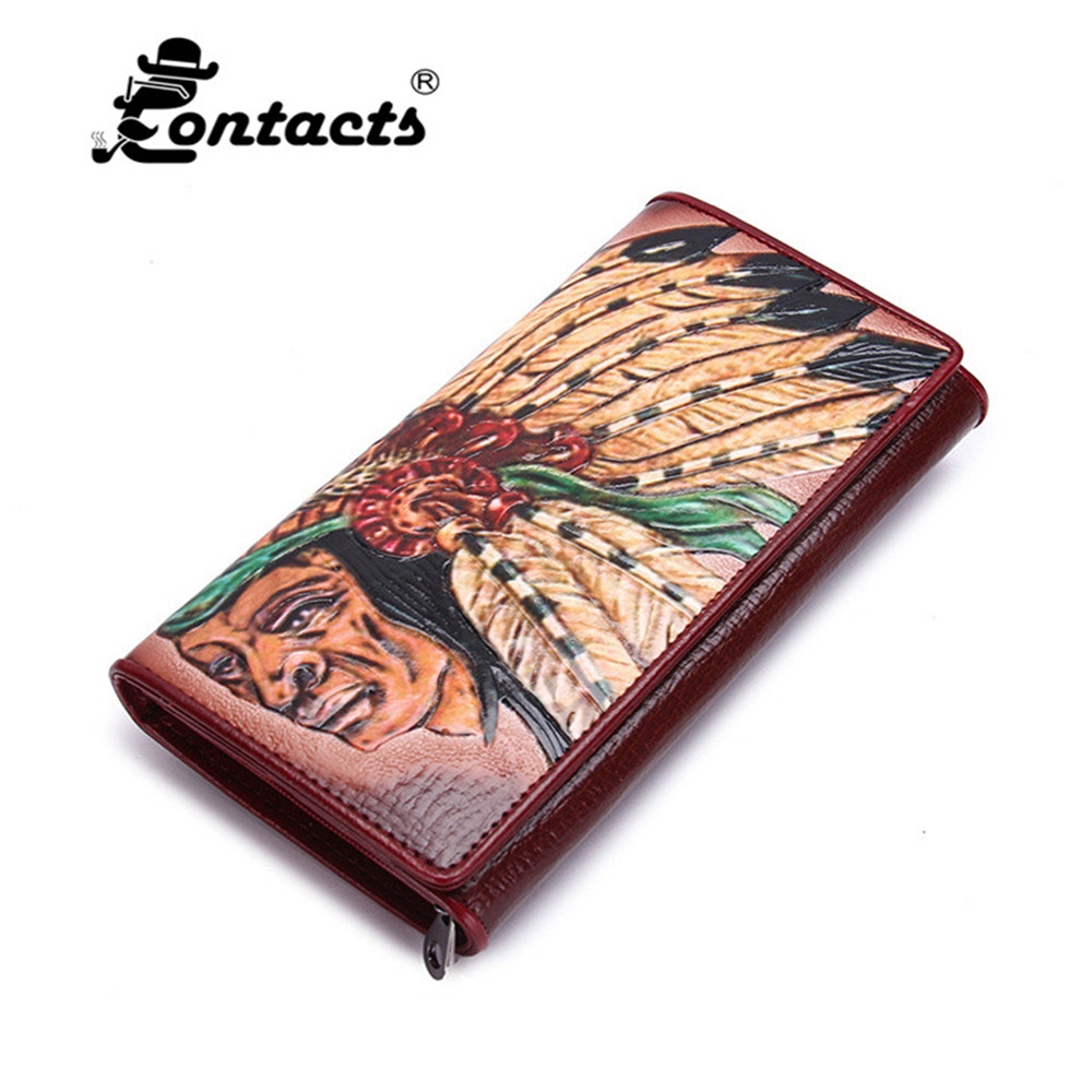 CONTACT'S 2017 New Genuine Leather Women Wallets Lady Purse Long  Wallet Elegant Fashion Female Women's Clutch With Card Holder 2017 new genuine leather wallet women lady long wallets women purse female 4 colors women wallet card holder day clutch dc247