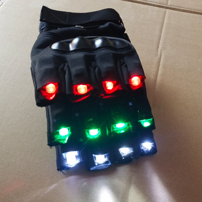 Stage Led Night Club Performance Use Gloves Laser Light Red Green White Laser Colorful Lights Outdoor Sports Riding Non Slip