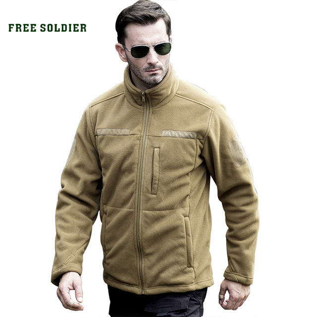 FREE SOLDIER clothing tactical fleece jacket warm men's short plush fleece outdoor sports hiking jackets hunting