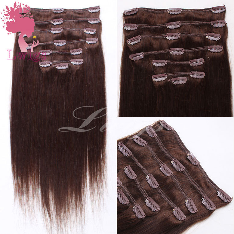 3# brown color brazilian virgin hair extension,clip in hair extension brazilian virgin hair can custom hair extension