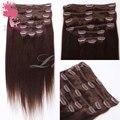 3 # cor marrom brasileiro virgem extensão do cabelo, grampo no cabelo da extensão do cabelo da extensão do cabelo virgem brasileiro pode personalizado