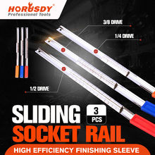 купить HORUSDY 3Pcs Steel Socket Wrench Rail Combination Set Tool Holder Organizer 1/4 3/8 1/2 Colorful Finishing Tools дешево