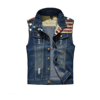 Men Denim Vest Mens Sleeveless Jeans Jackets America Flag Washed Jean Brand Clothing Men Cowboy Size Coat Plus Size 5XL