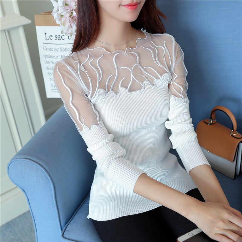 5814 real shot 2018 Корейская версия, осенняя новая рубашка с кружевным низом 33 женские джемперы тонкие свитера черный свитер тонкий облегающий Топ